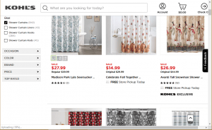 Kohls website product page for Shower curtains