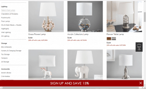 Pottery Barn Kids website product page for Lamps