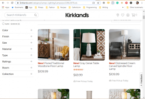 Kirklands website product page for Lamps