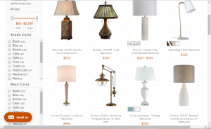 Lamps website product page for Lamps