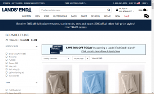 Bedsheets on Lands end's page.