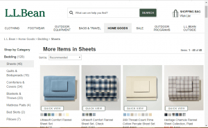 Bedsheets on L.L bean's page.