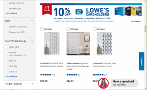 Lowes website product page for Shower curtains