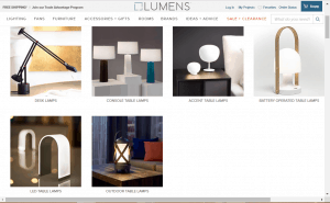 Lumens website product page for Lamps