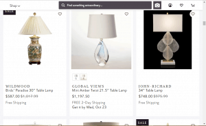 Perigold website product page for Lamps