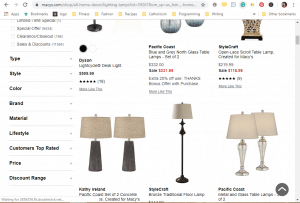 Macy's website product page for Lamps
