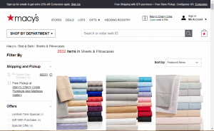 Bedsheets on macy's page.
