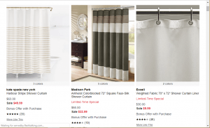 Macy's website product page for Shower curtains
