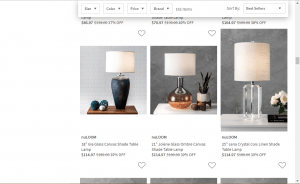 Nordstrom Rack website product page for Lamps