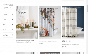 Nordstrom website product page for Shower curtains
