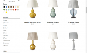 Oka website product page for Lamps