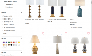One Kings Lane website product page for Lamps