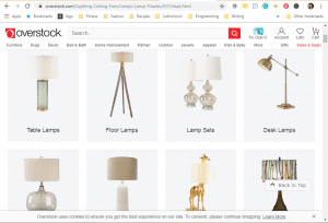 Overstock website product page for Lamps