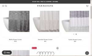 Parachute Home website product page for Shower curtains