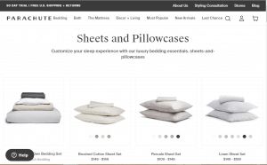 Bedsheets on Parachute's page.