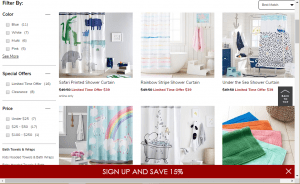Pottery Barn Kids website product page for Shower curtains