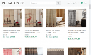 P.C. Fallon website product page for Shower curtains