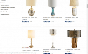 Pier 1 website product page for Lamps