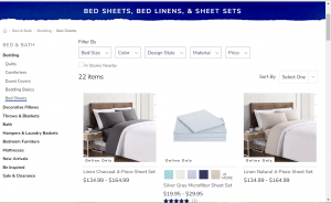 Bedsheets on Pier 1's page.