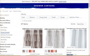 Pier 1 website product page for Shower curtains