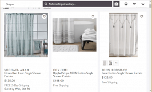 Perigold website product page for Shower curtains