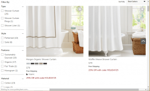 Pottery Barn website product page for Shower curtains