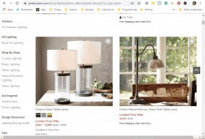 Pottery Barn website product page for Lamps