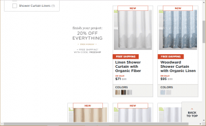 Rejuvenation website product page for Shower curtains