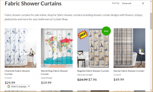 Curtain Shop website product page for Shower curtains