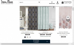 Stein Mart website product page for Shower curtains