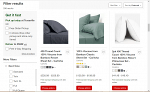 Bedsheets on target's page.