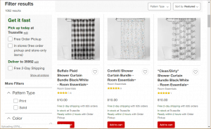 Target website product page for Shower curtains