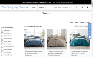 Bedsheets on The company store's page.