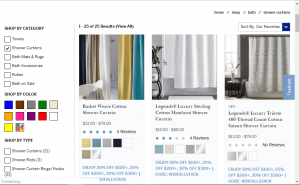 The Company Store website product page for Shower curtains