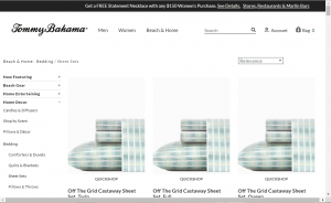 Bedsheets on Tommy Bahama's page.