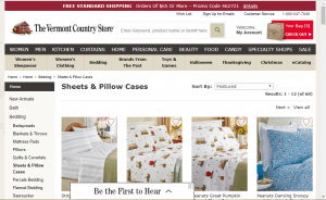 Bedsheets on Vermont country store's page.