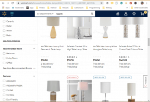 Walmart website product page for Lamps