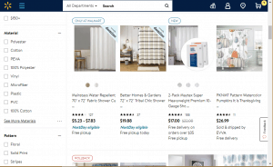 Walmart website product page for Shower curtains