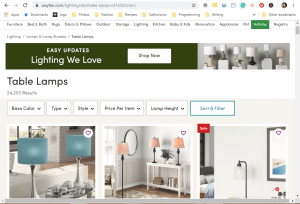 Wayfair website product page for Lamps