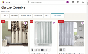 Wayfair website product page for Shower curtains