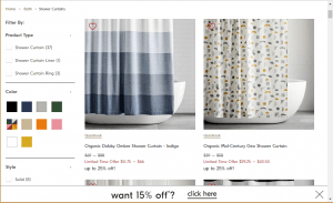 West Elm website product page for Shower curtains