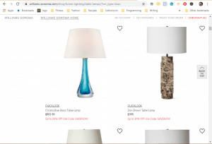 Willliams Sonoma website product page for Lamps