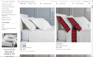 Bedsheets on William sonoma's page.