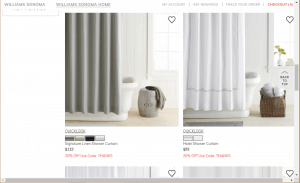 Williams-Sonoma website product page for Shower curtains