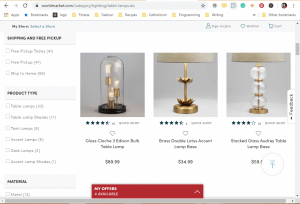 World Market website product page for Lamps