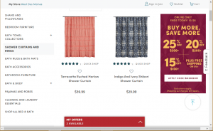 World Market website product page for Shower curtains
