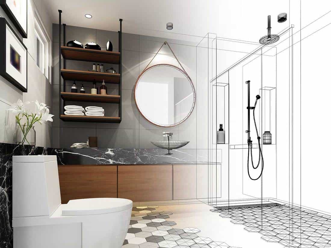 Abstract sketch design of bathroom interior