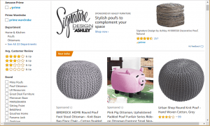 Poufs and Ottomans on amazon's page.