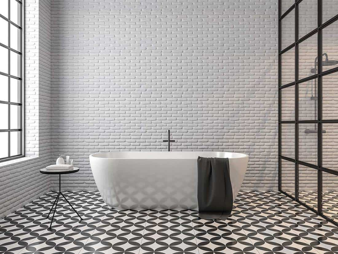 Black and white scandinavian loft style bathroom