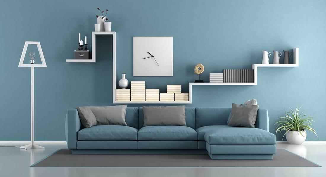 Blue modern minimalist living room
